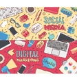 Flat work social media digital marketing vector image vector image