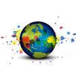 globe and ink splatter background vector image vector image