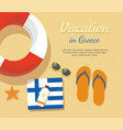 greece tourism flip flops in the sand with towel vector image vector image