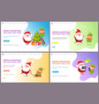 greeting major card with christmas tree and santa vector image vector image