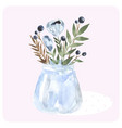 hand drawn watercolor bouquet in bank blue vector image
