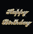 Happy birthday in gold with diamonds vector | Price: 1 Credit (USD $1)