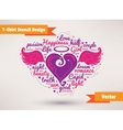 Heart with wings T-Shirt Stencil Design vector image vector image