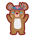 line color cute bear animal with feathers design vector image vector image