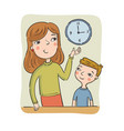 mother teaches son to learn time vector image