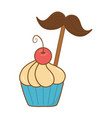 muffin with moustache vector image vector image
