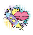rocket flying with mouth female pop art style vector image