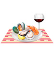 Seafood and red wine on table vector image
