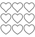 set outline heart shape icon heart shape vector image vector image