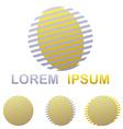 Silver and golden striped circle logo design set vector image vector image