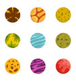 space planet icons set flat style vector image