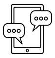 tablet sms chat icon outline style vector image vector image