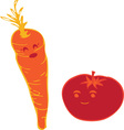 Tomato And Carrot vector image vector image