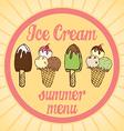 vintage ice cream poster set tasty ice cream vector image