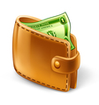 wallet with dollar vector image vector image