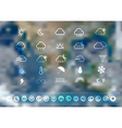 Weather icons set with blurred earth globe vector image