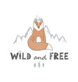 wild and free lettering with cute fox hand drawn vector image vector image