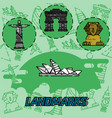 world landmarks flat concept icons vector image