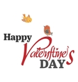 Valentines Day type text with two birds vector image
