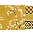 Japanese seamless patterns set with bamboo vector image