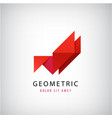 abstract 3d origami logo origami geometric vector image vector image