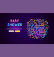 baby shower neon banner design vector image