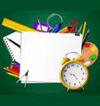 back to school chalkboard with school supplies vector image vector image