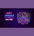 bashower neon banner design vector image vector image