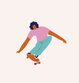 boy skateboarder ride a skate in vector image