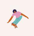 boy skateboarder ride a skate vector image vector image