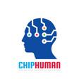 chip human head - logo template concept vector image vector image