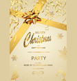 christmas party invitation on gold background vector image vector image