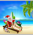 christmas santa tropical beach scene vector image