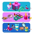Cosmetics isometric banners vector image vector image