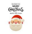 cute cartoon santa claus head on white background vector image