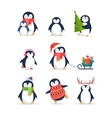 Cute penguins set - Merry Christmas greetings vector image vector image