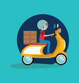 delivery boy riding motor bike icon vector image vector image