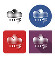 dotted icon thunderstorm in four variants vector image