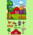 farm scene with scarecrow and other elements vector image