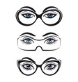 female eyes with glasses set vector image vector image