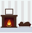 fireplace on wall vector image vector image