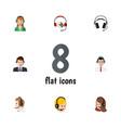 flat hotline set of headphone earphone help and vector image vector image