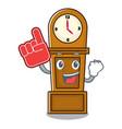 foam finger grandfather clock mascot cartoon vector image
