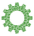 gearwheel mosaic of video gpu card icons vector image vector image