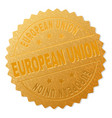 gold european union award stamp vector image vector image