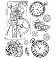 graphic set with vintage clock mechanism vector image