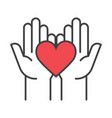 heart in hands fundraising symbols vector image
