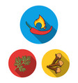 herb and spices flat icons in set collection for vector image vector image
