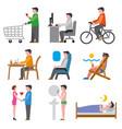 human life icons vector image vector image