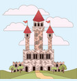 landscape with princesses castle and sky with vector image vector image